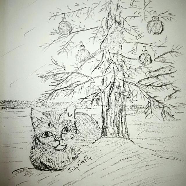 """My tree"" #cat, #sketch  #FreeToEdit"