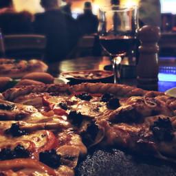 merrychristmas merryxmas dinner pizza wine