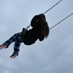 freetoedit human girl levitate sky