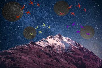 galaxiesawaitremix freetoedit mountain space stars