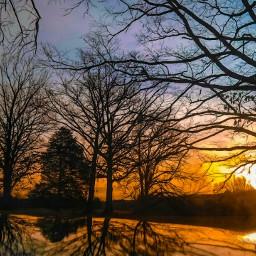 sunrise landscape nature reflection illusion