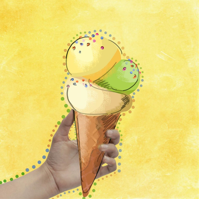 Dotted Outlines are trending! @superwoman20 Remixed this image from our @nameleak to create sumptous ice cream cone with those adorable dots. To create your own, select any image and go to Draw in the Editor. Select your favorite color, any brush you like and dot dot dot around it. Don't forget to tag your image with #DottedOutline