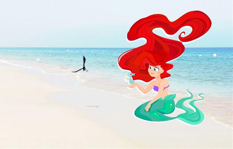 freetoedit ariel thelittlemermaid drawing beach